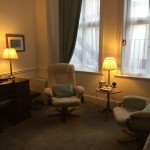 Therapy room with reclining chairs and low lighting